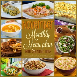 FREE November Monthly Menu Plan {downloadable + clickable links}