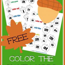 FREE Kindergarten Sight Word Color