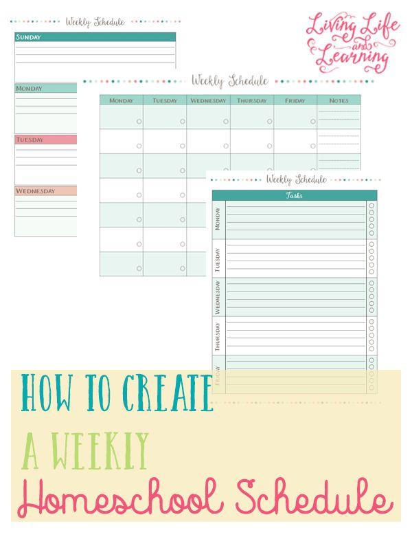 FREE Homeschool Weekly Schedule Printable