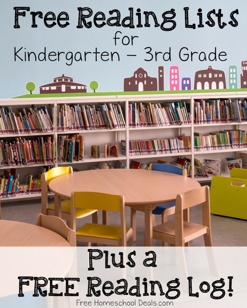 Free Reading Lists for Kindergarten - 3rd Grade plus a free reading log!