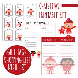 Free Christmas Printable Set: Gift Tags, Wish Lists, and Shopping Lists