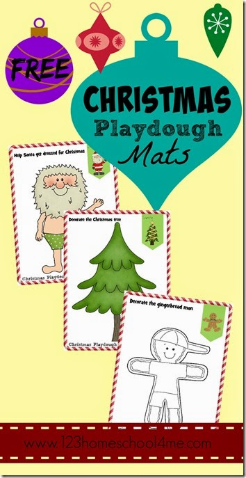 FREE Christmas Play Dough Mats