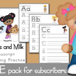 FREE Cookies and Milk Handwriting Practice Set