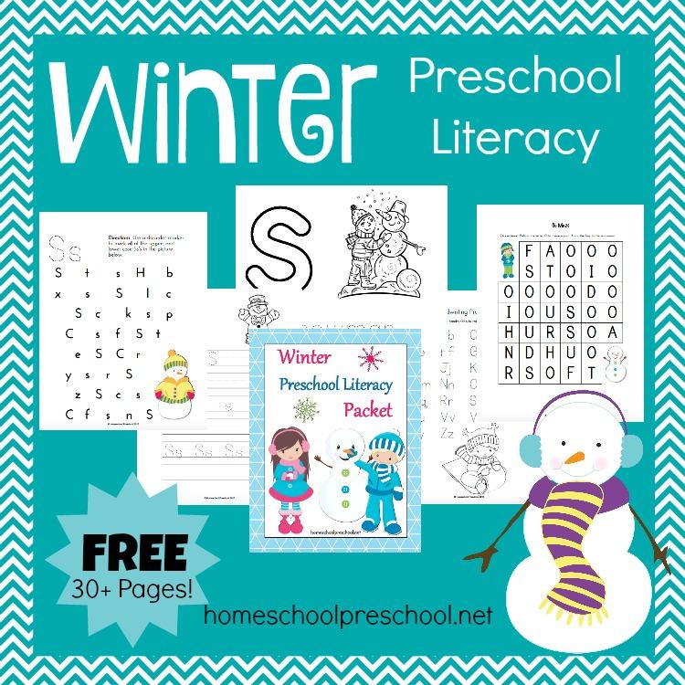 FREE Winter Preschool Literacy Pack