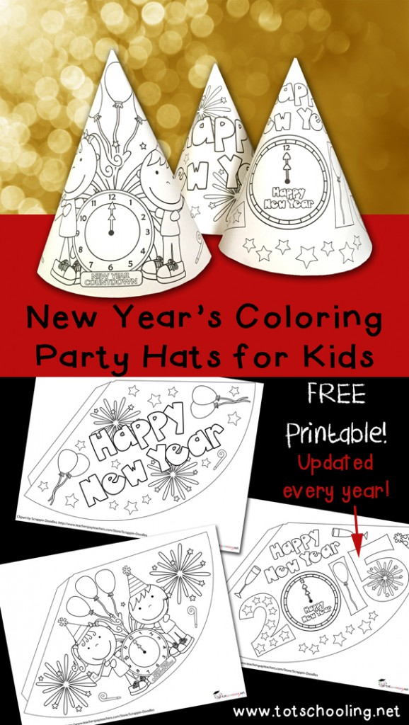 FREE New Years Coloring Hats