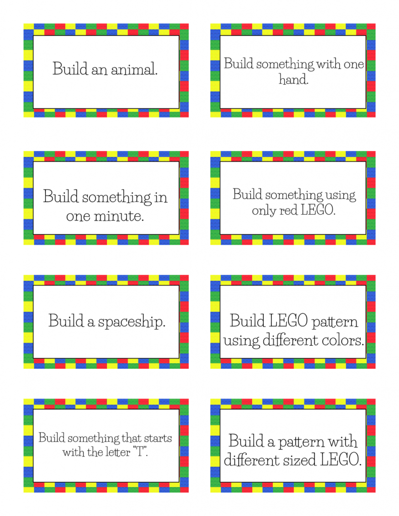 Free Printable LEGO Challenge Cards