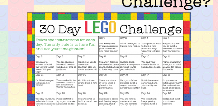 30-Day LEGO Challenge - free printable instant download!