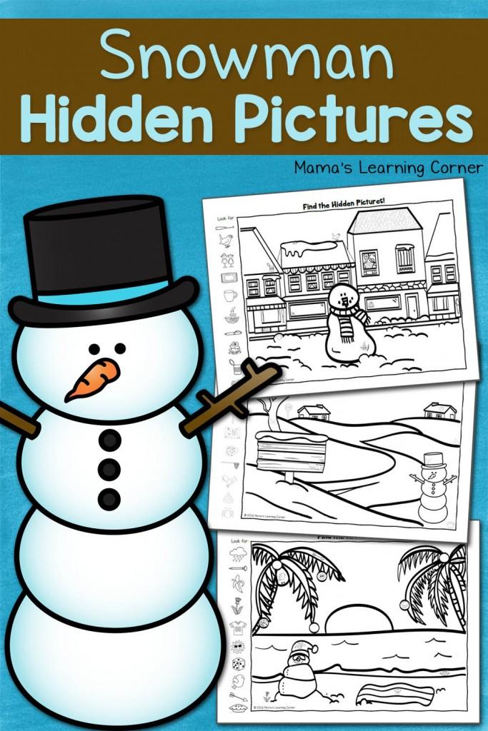 Snowman Hidden Picture Worksheets