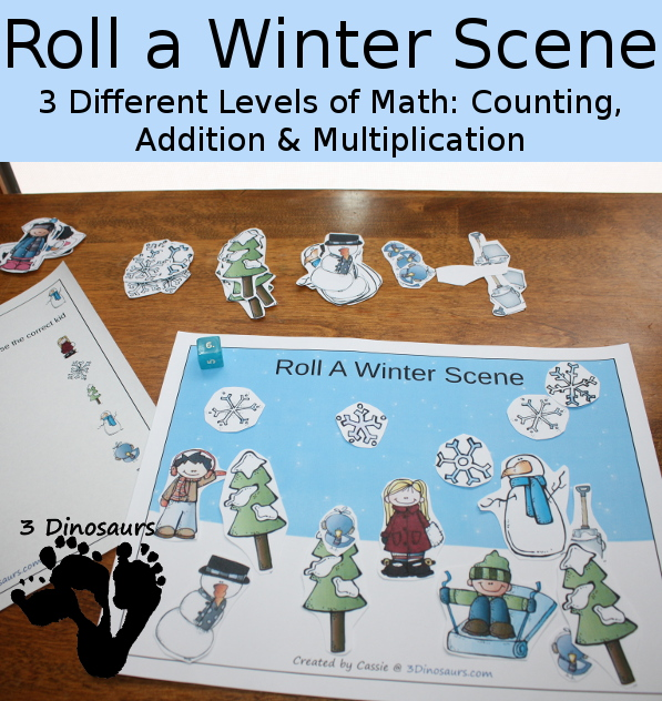 FREE Roll a Winter Scene Math Packs
