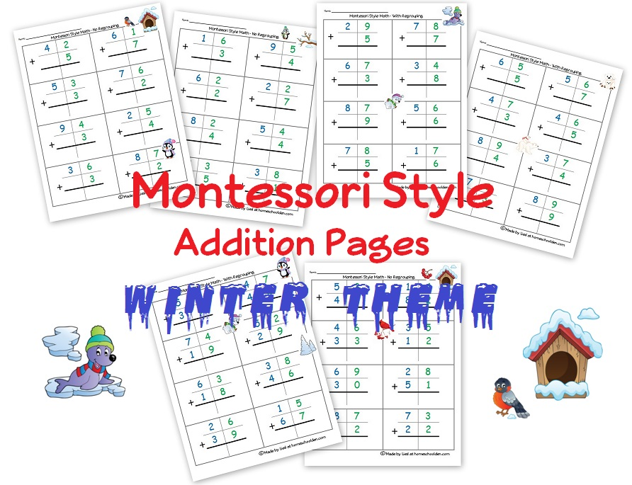 To help your kids get the hang of double digit addition, check out these FREE Montessori Style Double Digit Addition Pages! #fhdhomeschoolers #freehomeschooldeals #teachingathome #homeschoolmath #addition