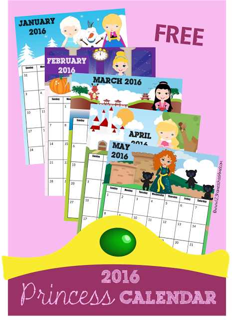 FREE Princess inspired Calendars