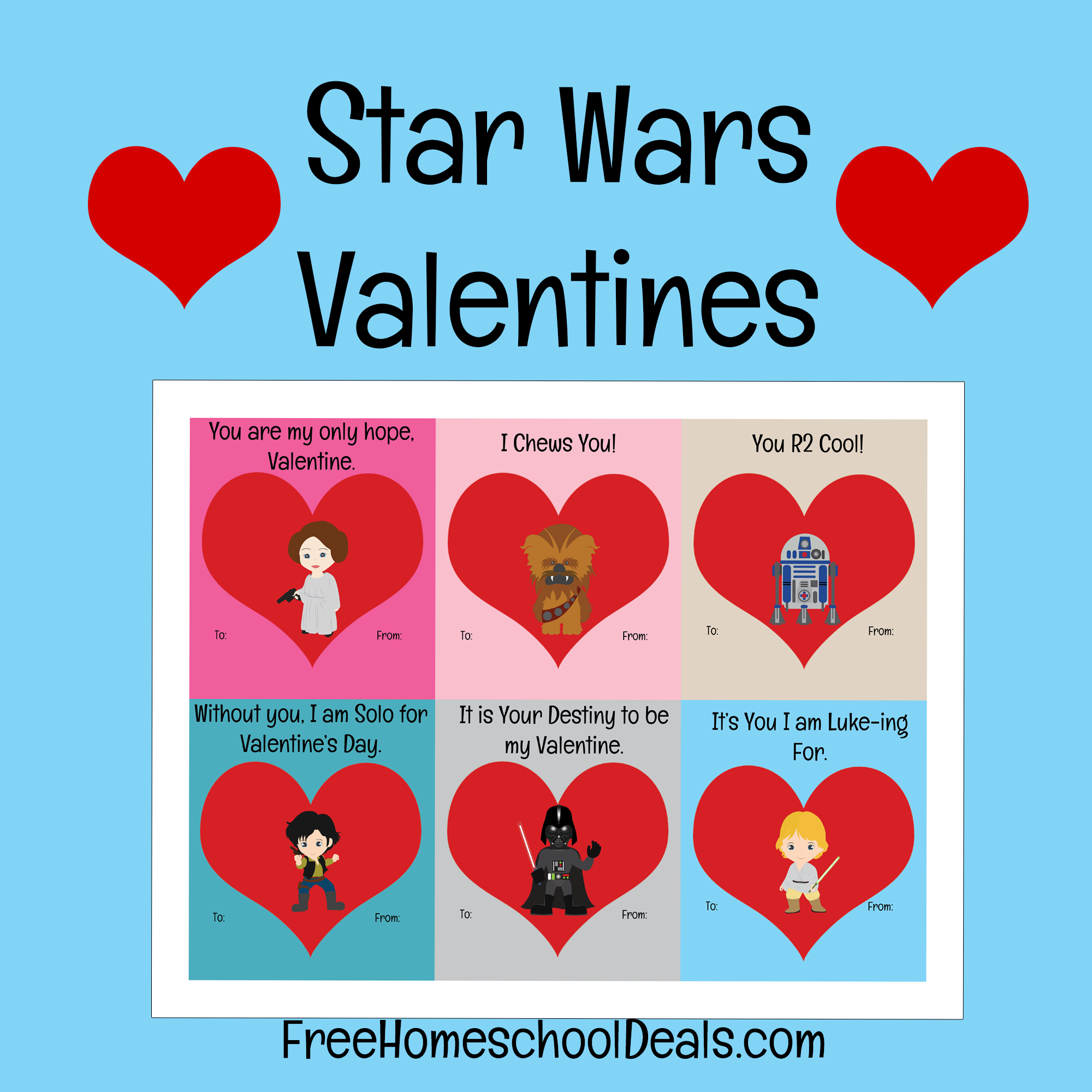 Free Printable Star Wars Valentines! (instant download)