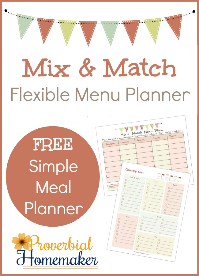 FREE Mix & Match Flexible Menu Planner Printables