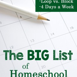 The BIG List of Homeschool Schedule Ideas!