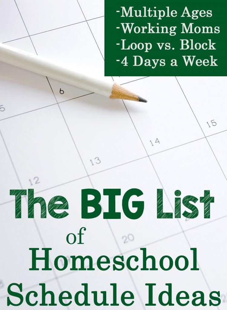 The Big List Of Homeschool Schedule Ideas