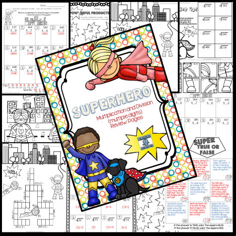 Super Hero Multiplication and Division FREEBIE - 20 Pages!