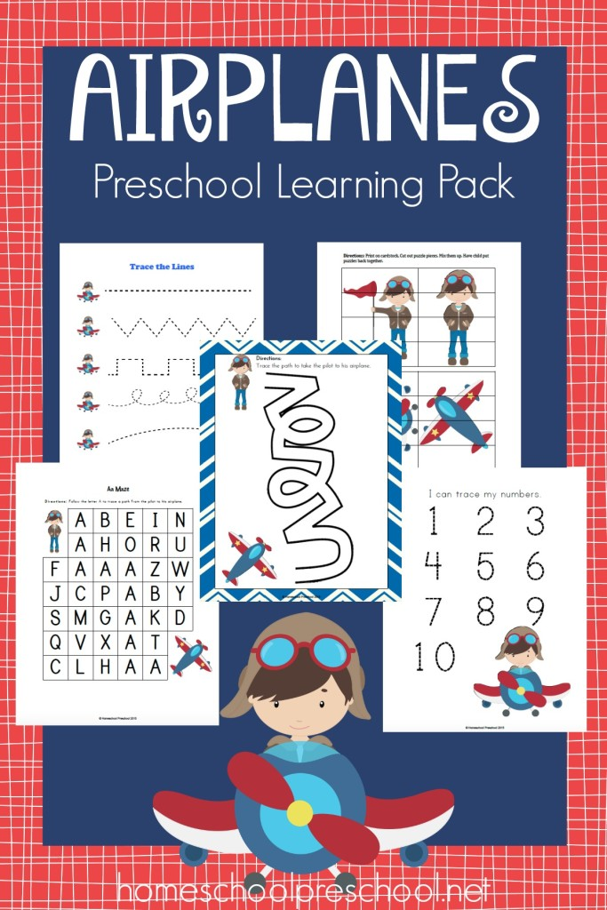 free preschool airplane learning pack
