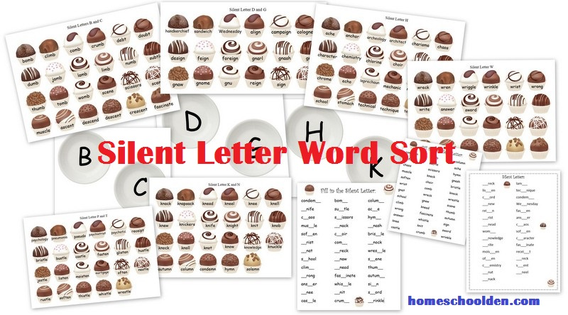 free silent letter worksheets and word sort activity chocolate theme. Black Bedroom Furniture Sets. Home Design Ideas