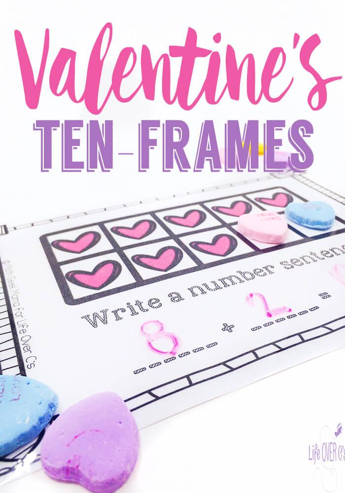 FREE Ten-Frames Valentine's Conversation Hearts