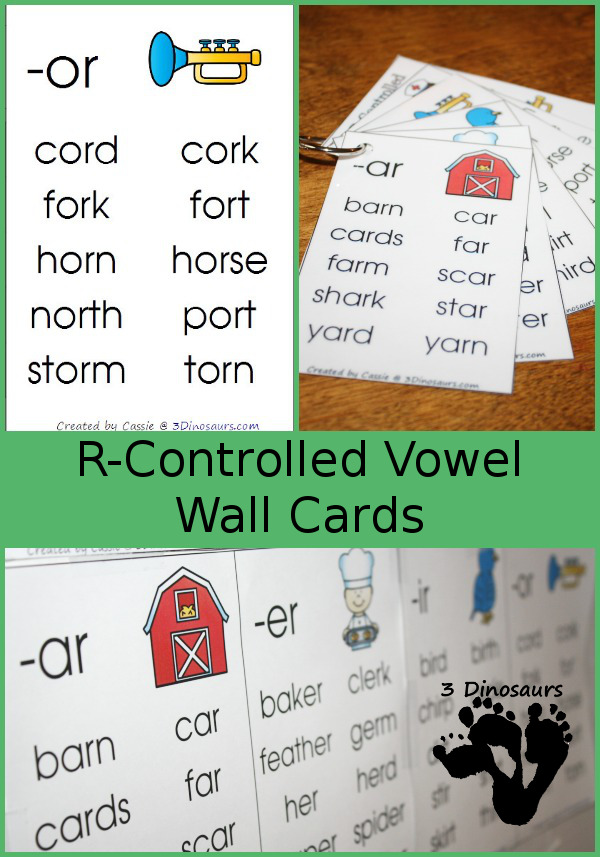 FREE R Controlled Vowel Wall Cards