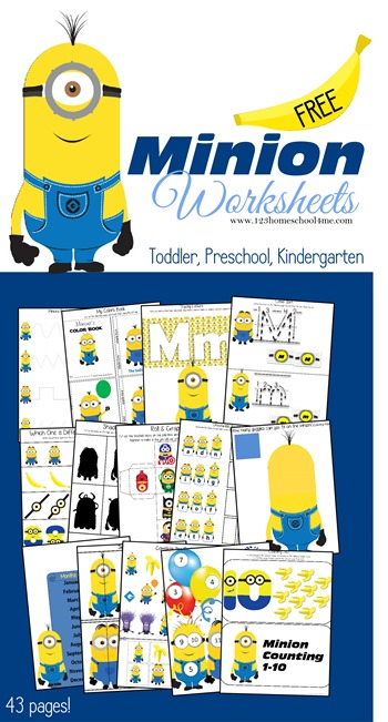 FREE Minions Worksheets for Kids | Free Homeschool Deals ©
