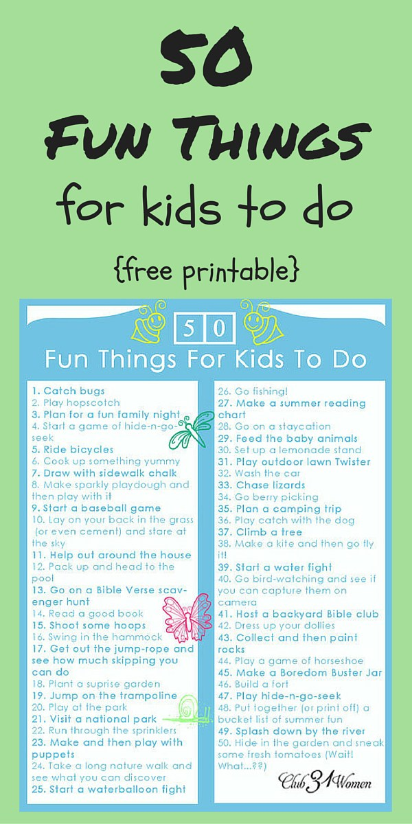 50 FREE Things for Kids to Do