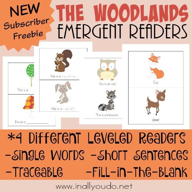 FREE Woodlands Emergent Readers