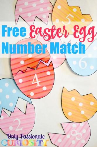 Free Easter Egg Number Match
