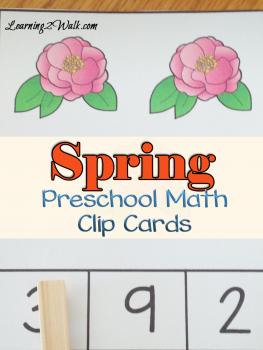 FREE Spring Preschool Math Clip Cards