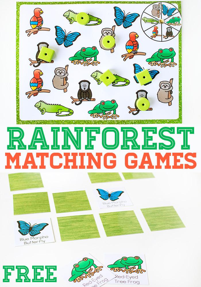 FREE Rainforest Matching Game
