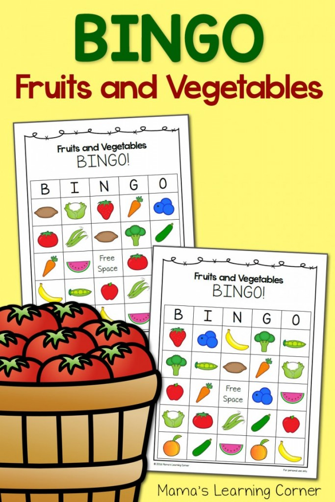 FREE Fruit and Veggie Bingo Cards