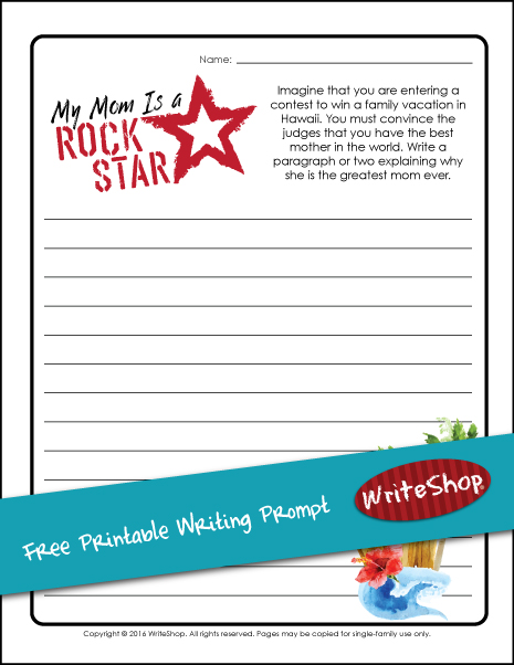 Free My Mom Is a Rock Star Writing Prompt Printable