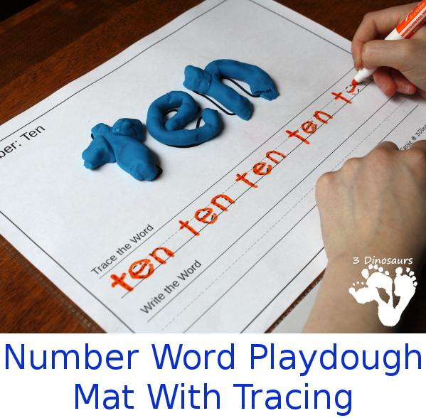 FREE Number Words Playdough Mats