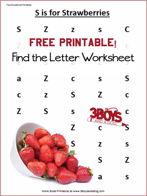 FREE S is for Strawberry Printables