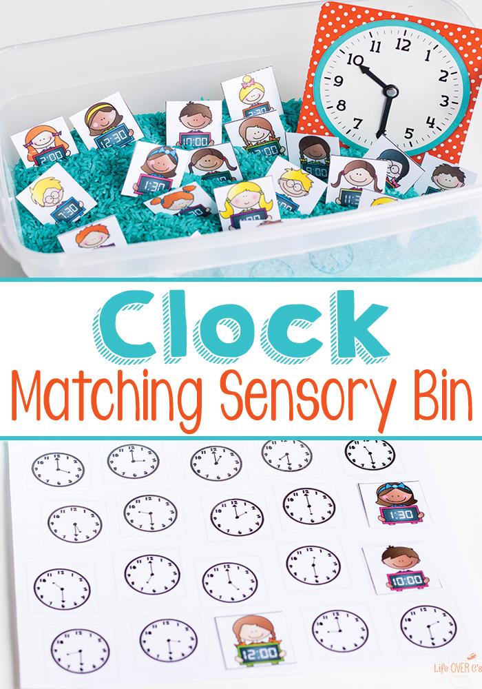 FREE Clock Sensory Bins