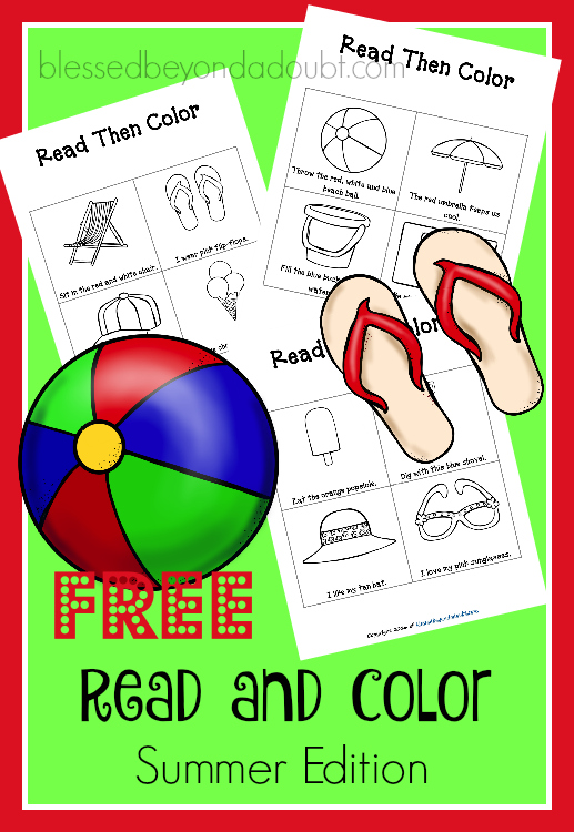 FREE Read and Color Beach Printables