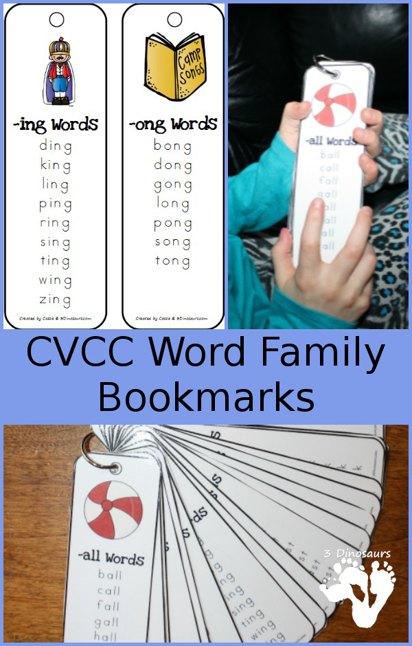 FREE CVCC Word Family Bookmarks