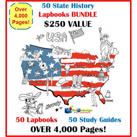 50 State History Lapbook Bundle Only $40! - Over 4,000 Pages! ($250 Value!)