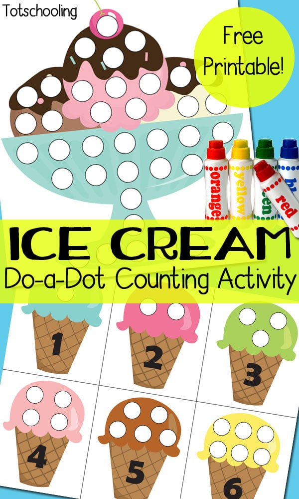 FREE Ice Cream Dot Marker Pages