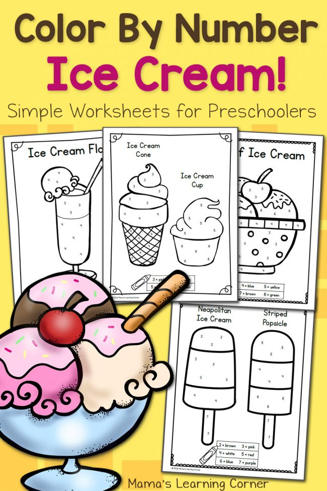 FREE Color By Number Ice Cream Worksheets