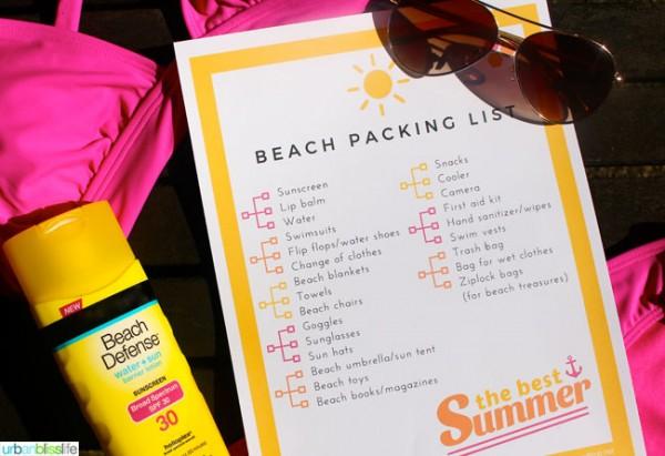 FREE Beach Packing List printables
