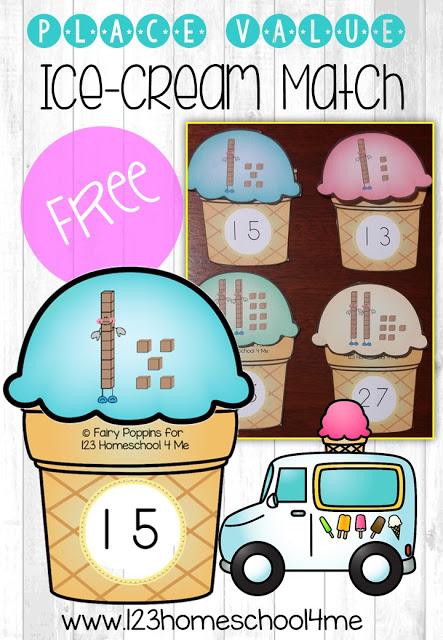 FREE Place Value Ice Cream Match