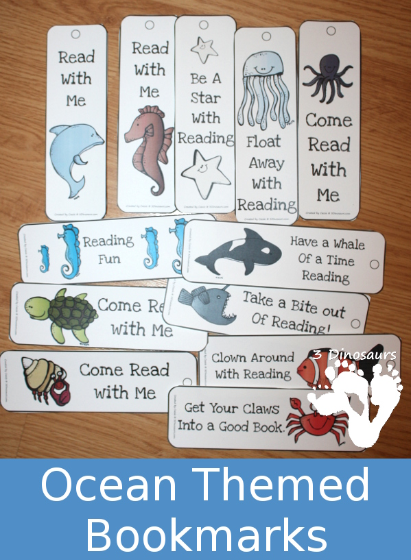 FREE Ocean Themed Bookmarks