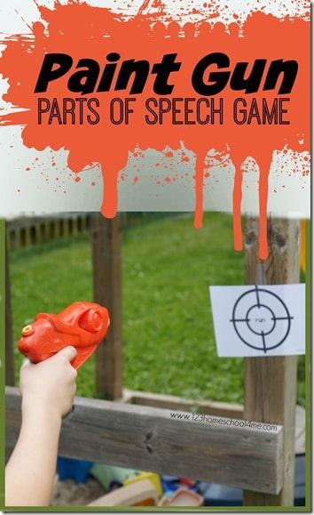FREE Paint Gun Parts of Speech Game