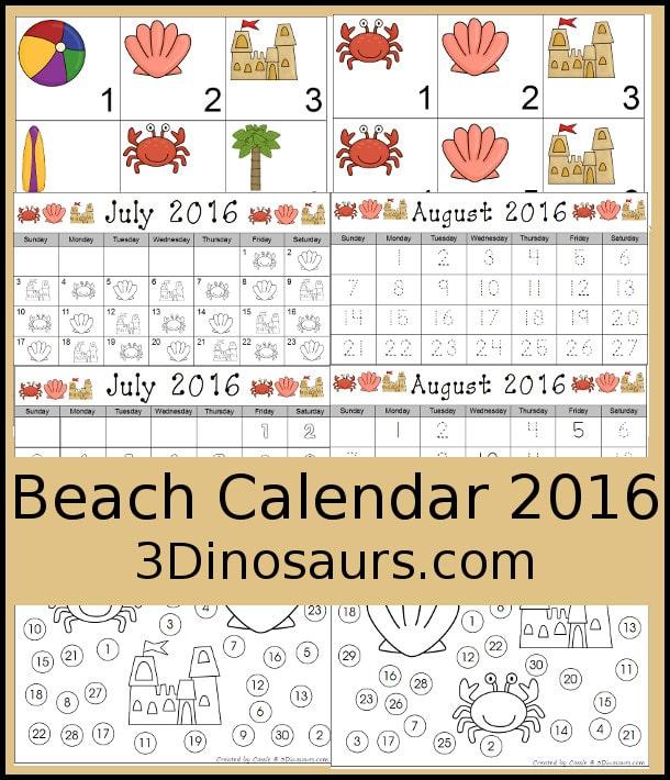 FREE Beach Themed Calendar