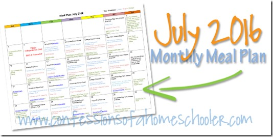FREE July Monthly Meals Planner