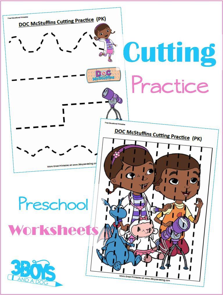 Free Doc Mcstuffins Cutting Practice Pages