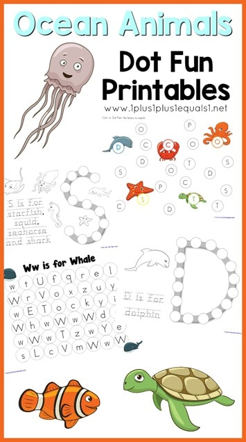 FREE Ocean Animals Dot Pages