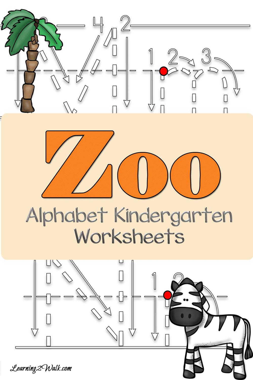 FREE Zoo Alphabet Kindergarten Worksheets