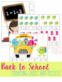 FREE Back To School Counting Cards and Puzzles